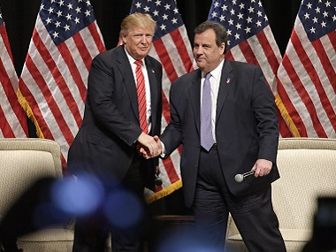 File photo of Donald Trump and Chris Christie. AP