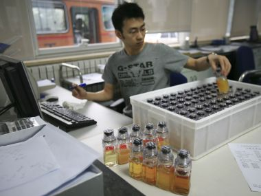 A file photo of urine samples from athletes being tested for drugs. AP