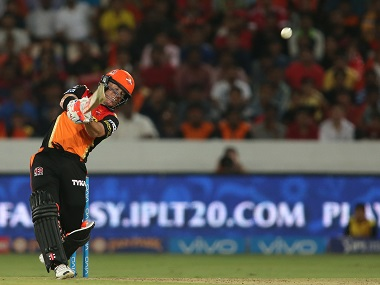 Sunrisers Hyderabad captain David Warner in action against Royal Challengers Bangalore. BCCI