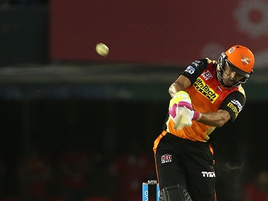 Yuvraj Singh of Sunrisers Hyderabad in action against Kings XI Punjab. BCCI