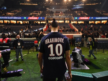 Zlatan Ibrahimovic leaves a pitch after his final game for PSG. AFP
