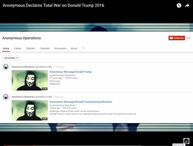 Anonymous hackers declare war on  Donald Trump