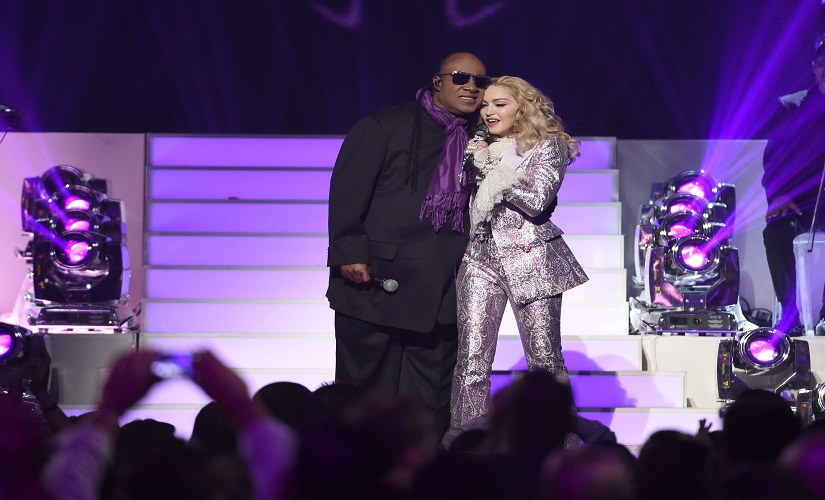 Stevie Wonder, left, and Madonna perform a tribute to Prince at the Billboard Music Awards at the T-Mobile Arena on Sunday, 22 May, 2016, in Las Vegas. Image from AP