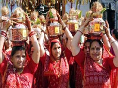 Women from the Marwari community lead a 'kalash yatra'. Image from PTI