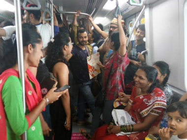 Sunday session of 'Why Loiter' in the Mumbai metro. Firstpost/Neha Singh