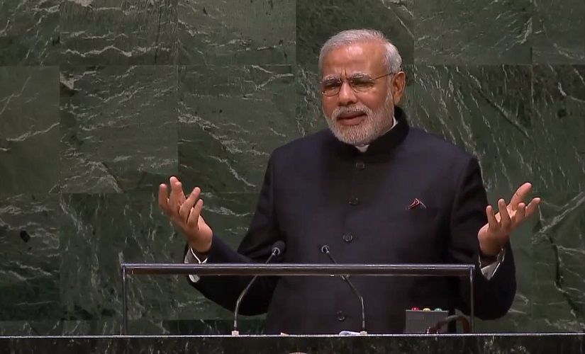 A screen grab from YouTube of Modi's address at the United Nations