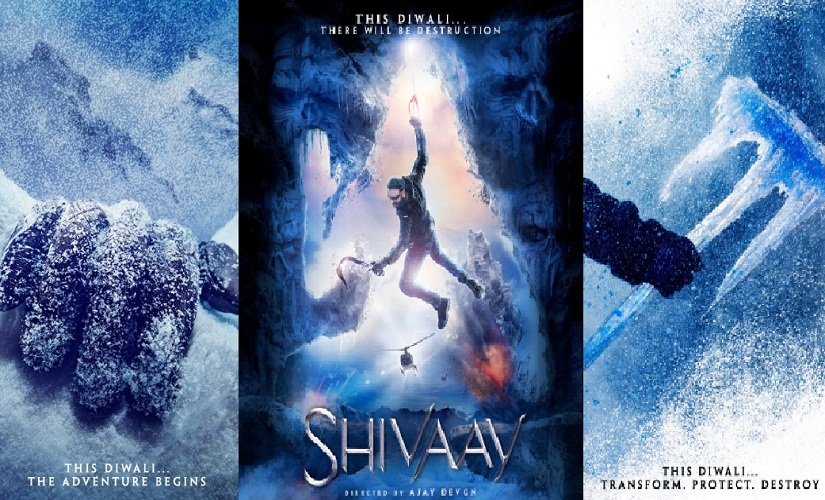 The posters for 'Shivaay', released by Ajay Devgn. Images via Twitter