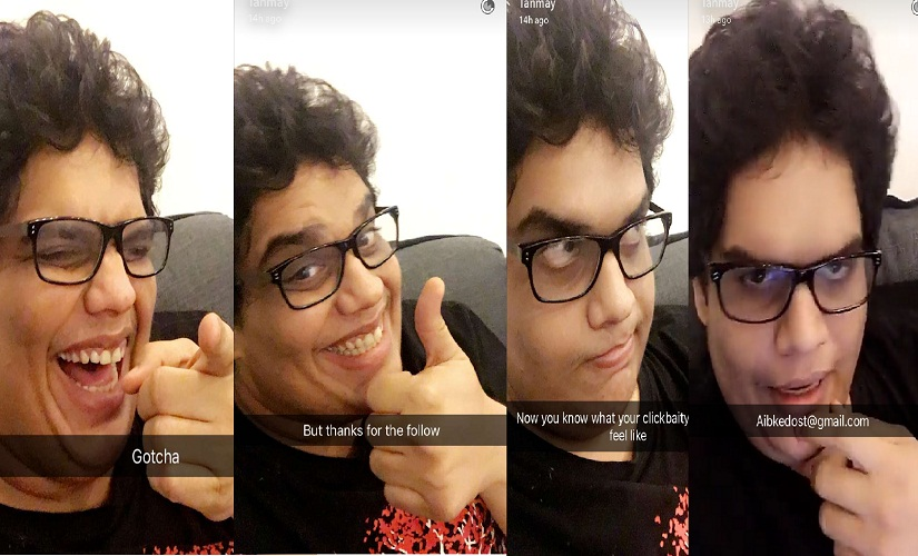 From Tanmay Bhat's Snapchat