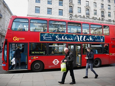 A London bus with . Twitter @themuslimvibe
