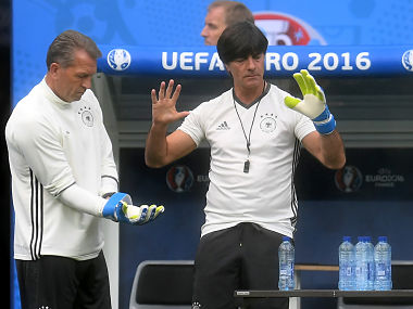 Joachim Loew in training before Germany's Poland match. AFP