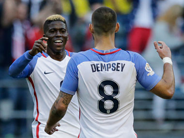 Gyasi Zardes celebrates with Clint Dempsey after scoring against Ecuador. AFP