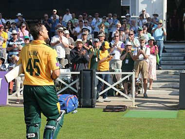 Michael Lumb departs after a record-breaking partnership with Riki Wessels. Facebook/ Nottinghamshire County Cricket Club