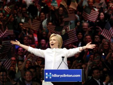 Democratic presidential candidate Hillary Clinton greets supporters during a presidential primary election night rally. AP