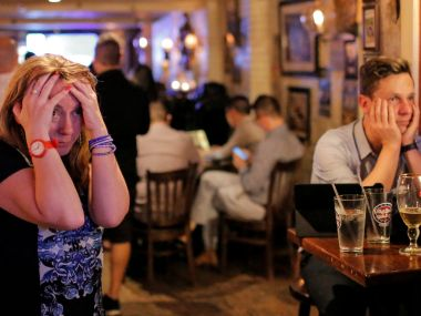 A file photo of Britons reacting to the news that Britain voted not to stay in the EU. Reuters