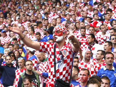 Croatian fans threw flares on the pitch to halt the game against Czech Republic. AP