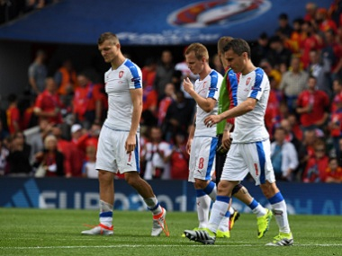 Czech Republic's players disappointed after going down 1-0 to Spain. AFP