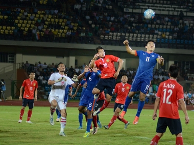 Sunil Chhetri in action against Laos. PTI