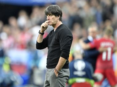 Joachim Loew looks on from the sidelines during Germany vs Poland. AP