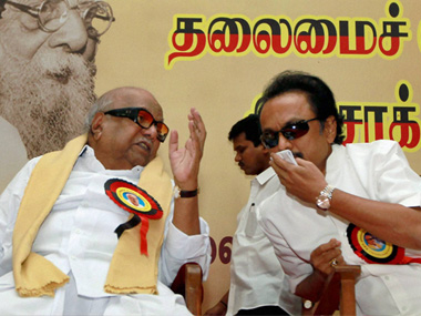 File image of Karunanidhi and MK Stalin. PTI
