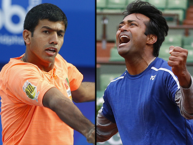 Rohan Bopanna and Leander Paes. AFP