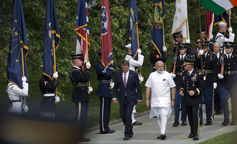 Prime Minister Narendra Modi (centre), with Secretary of Defence Ashton Carter (left), and Major General Bradley Becker (right) arrive to lay a wreath at the Tomb of the Unknowns at Arlington National Cemetery. AP