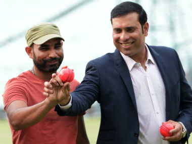 Mohammed Shami (left) and VVS Laxman at an event to promote pink balls at the Eden Gardens. AFP