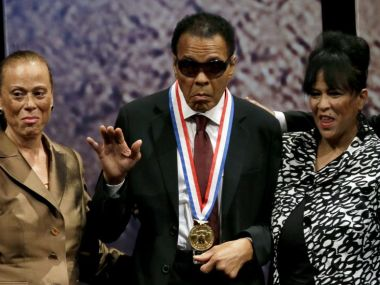 Muhammad Ali after receiving the Liberty Medal. AP