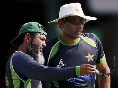 File photo of Pakistan's spin bowling coach Mushtaq Ahmed with Misbah-ul-Haq. Reuters