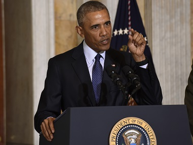 President Barack Obama speaks at the Treasury Department in Washington following a meeting with his National Security Council to get updates on the investigation into the attack in Orlando. AP