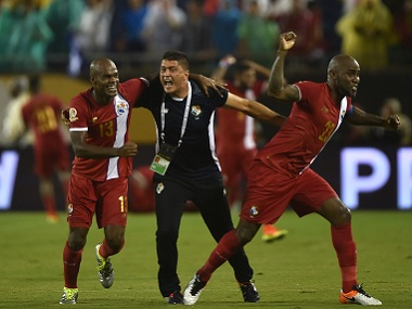 Panama's Adolfo Machado and Felipe Baloy celebrate during a Copa America match. AFP