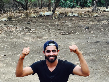 Ravinder Jadeja at the Gir National Park. Image courtesy: Instagram