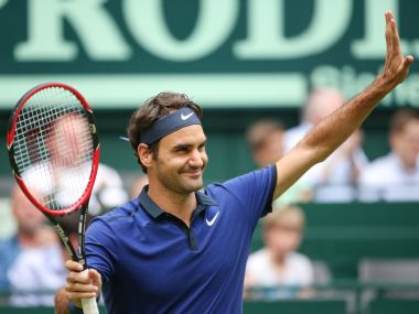 Roger Federer celebrates after winning against Malek Jaziri. AP