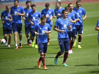 Russia team in training ahead of Euro 2016 in France. AFP