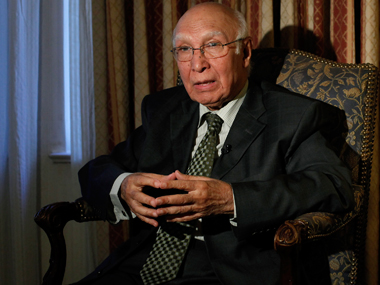Pakistan's Foreign affairs adviser Sartaj Aziz. Reuters