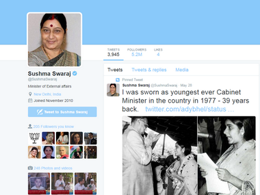 Sushma Swaraj breaks into top 10 most followed world leaders on Twitter. Twitter/@SushmaSwaraj