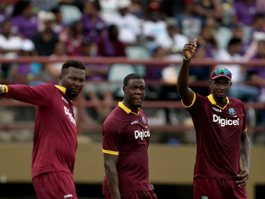 The West Indians in action during their match against Australia at Georgetown. AFP