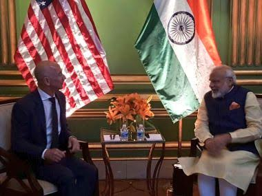 Jeff Bezos with PM Narendra Modi in the US. Image: Twitter