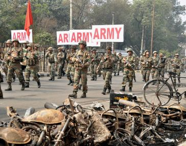 Security forces during the Jat agitation. File photo. PTI