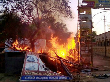 Aftermath of the Mathura violence. Twitter/CNNnews18