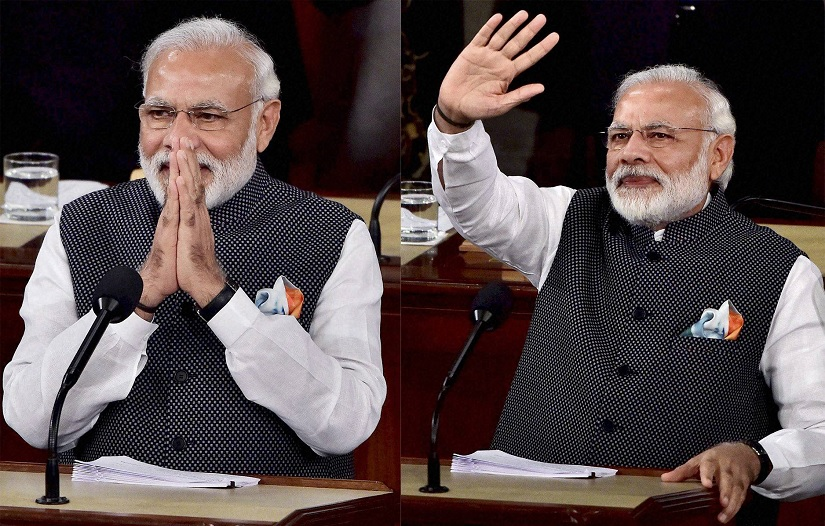 Prime Minister Narendra Modi addresses a joint meeting of Congress on Capitol Hill in Washington on Wednesday. PTI