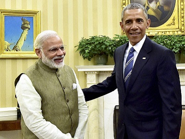 Prime Minister Narendra Modi with President Barack Obama during a meeting in the Oval Office of the White House in Washington on Tuesday. PTI