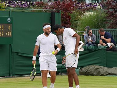 India's Rohan Bopanna and his Romanian partner Florin Mergea. Official Wimbledon Facebook Page