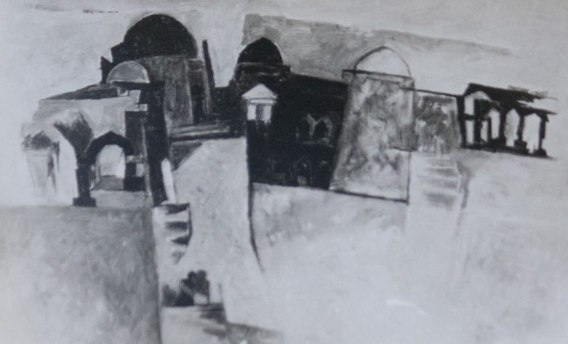 A 1957 photo of Mehra's painting 'Rendezvous'