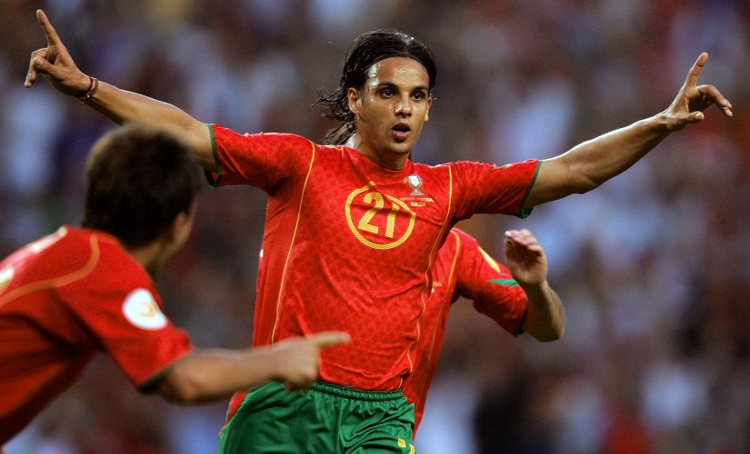 Portugal's forward Nuno Gomes celebrates a goal. AFP