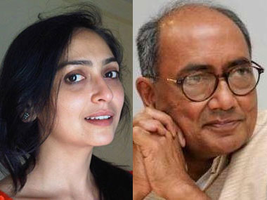 Amrita Rai and Digvijaya Singh. Agencies.