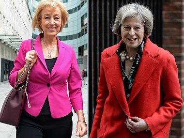 Andrea Leadsom (left) and Theresa May. AFP