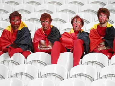 Dejected Belgium fans after the Euro 2016 match against Wales. Reuters