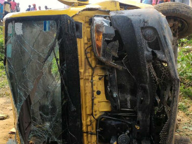 Eight children were killed when a train hit a school mini-bus in Bhadohi, Uttar Pradesh. Image courtesy: @ANI_news/Twitter