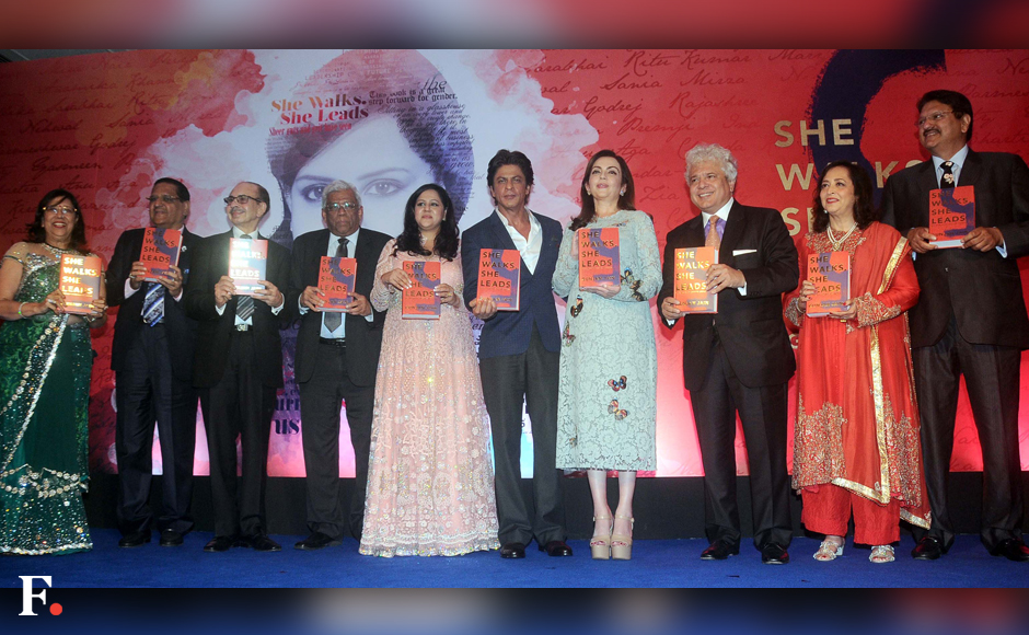Debutant author Gunjan Jain launched her book 'She leads she walks' which traces the journeysof 24 women, including Priyanka Chopra and Kareena Kapoor Khan, who have made it to the top. The book was launched by Shah Rukh Khan at a star-studded event at The Taj Mahal Palace Hotel in Colaba, Mumbai on Thursday. Bollywood celebrities as well as prominent business figures were spotted at the event. Sachin Gokhale/Firstpost