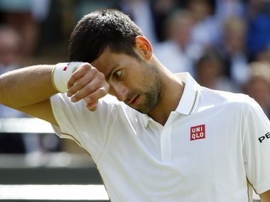 Novak Djokovic during his men's singles match against Sam Querrey at the Wimbledon. AP